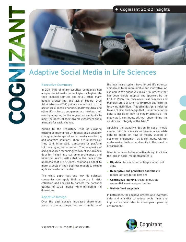 • Cognizant 20-20 InsightsAdaptive Social Media in Life Sciences   Executive Summary                                    th...
