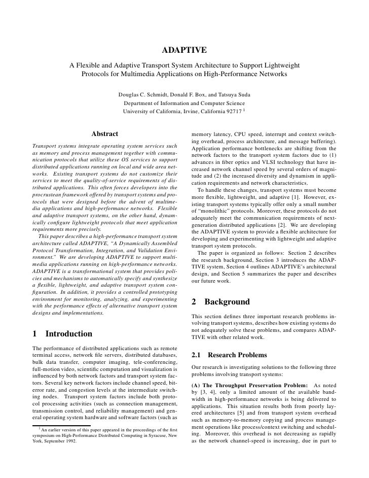 ADAPTIVE                   A Flexible and Adaptive Transport System Architecture to Support Lightweight                   ...