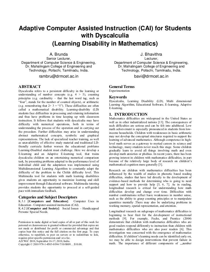 Adaptive Computer Assisted Instruction (CAI) for Students                   with Dyscalculia          (Learning Disability...