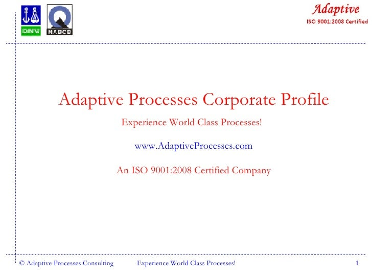 © Adaptive Processes Consulting Experience World Class Processes! Adaptive Processes Corporate Profile Experience World Cl...