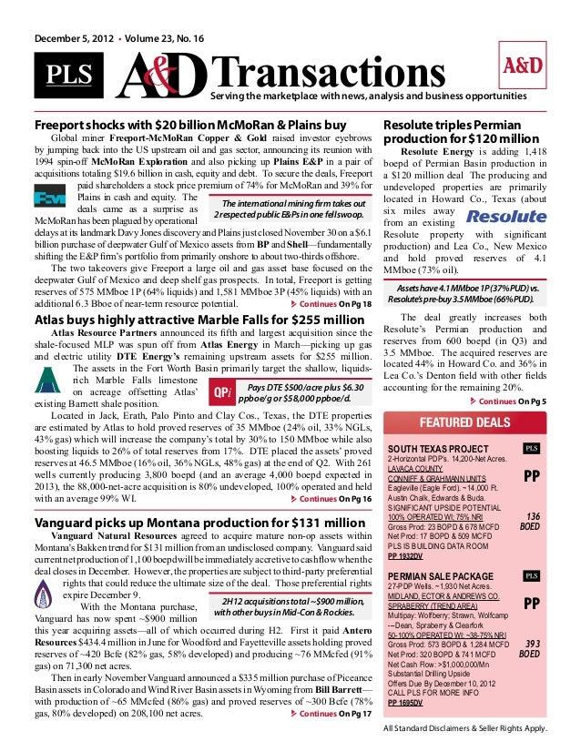 A&D Transactions Article - Marble Falls Acquisition