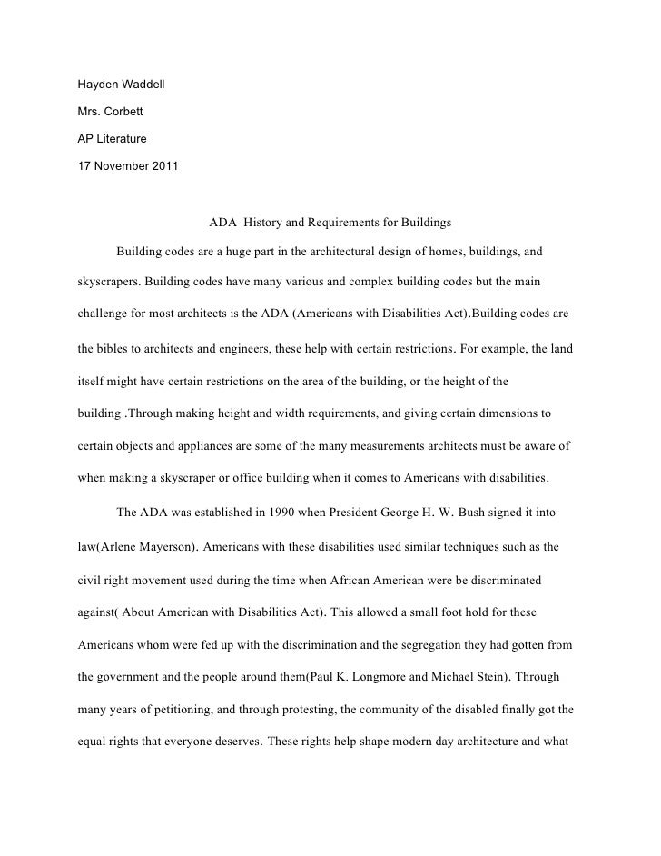 Hayden WaddellMrs. CorbettAP Literature17 November 2011                          ADA History and Requirements for Building...