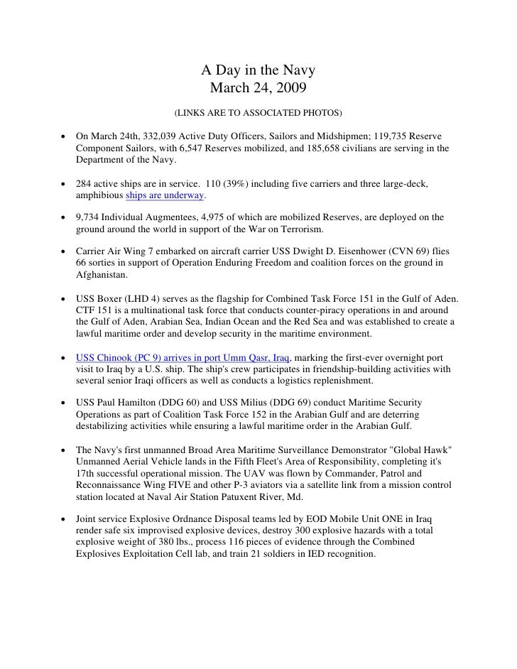A Day in the Navy                                      March 24, 2009                              (LINKS ARE TO ASSOCIATE...