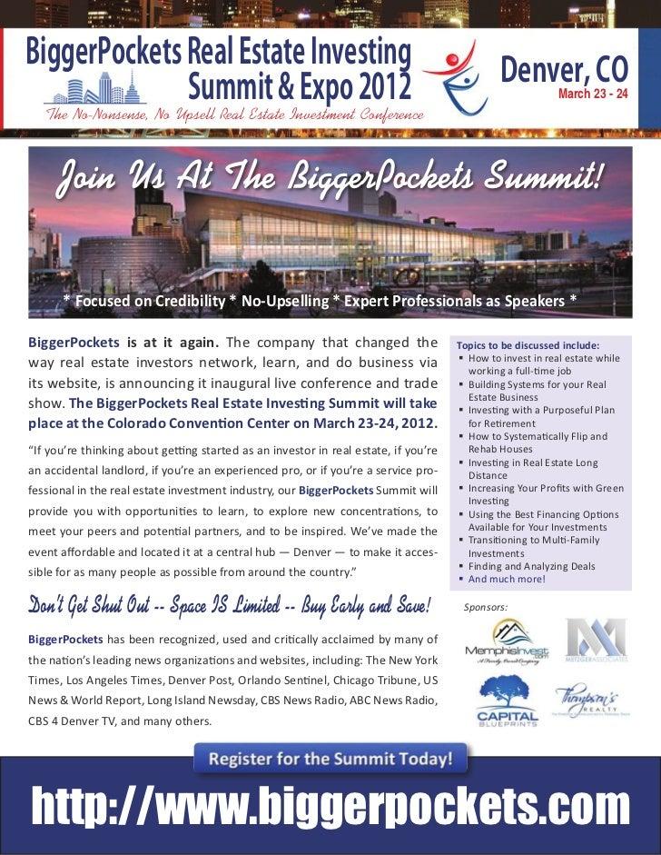 BiggerPockets Real Estate Investing              Summit & Expo 2012                                                       ...