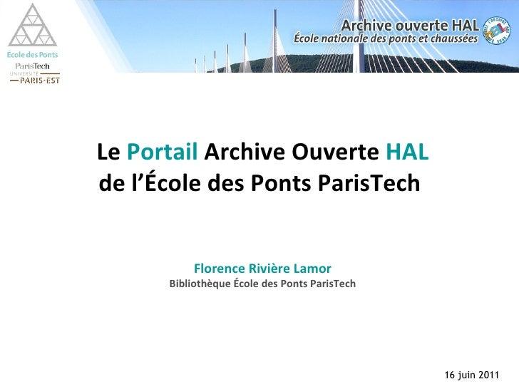 Le  Portail  Archive Ouverte  HAL de l'École des Ponts ParisTech  Florence Rivière Lamor Bibliothèque École des Ponts Pari...