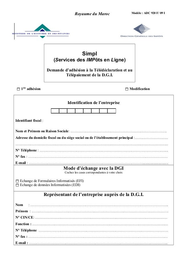 Modèle : ADC 920 F/ 09 I Simpl (Services des IMPôts en Ligne) Demande d'adhésion à la Télédéclaration et au Télépaiement d...