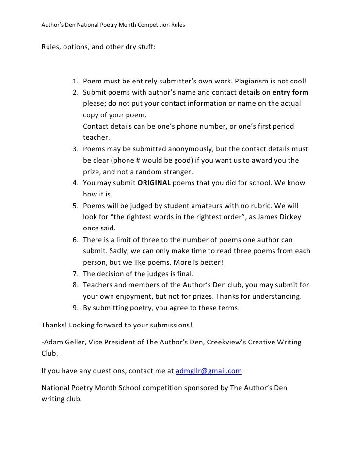 Author's Den Creative Writing Club Poetry Contest April 2012 Rules