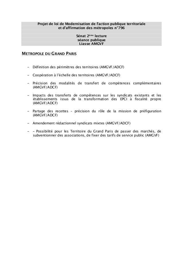 Projet de loi de Modernisation de l'action publique territoriale et d'affirmation des métropoles n°796 Sénat 2ème lecture ...
