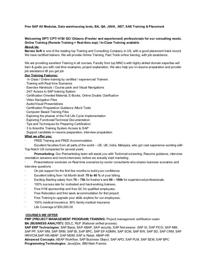 Sap mm trainer resume