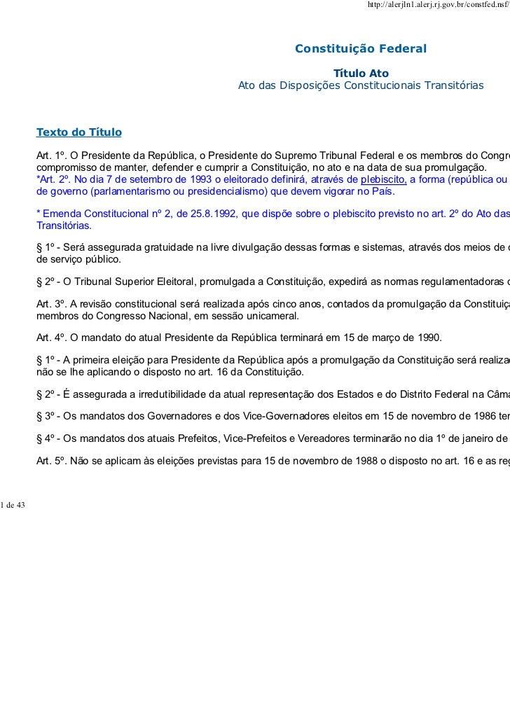 DIREITO CONSTITUCIONAL PARTE 01 2010ransitórias - acesso em 08-06-2010