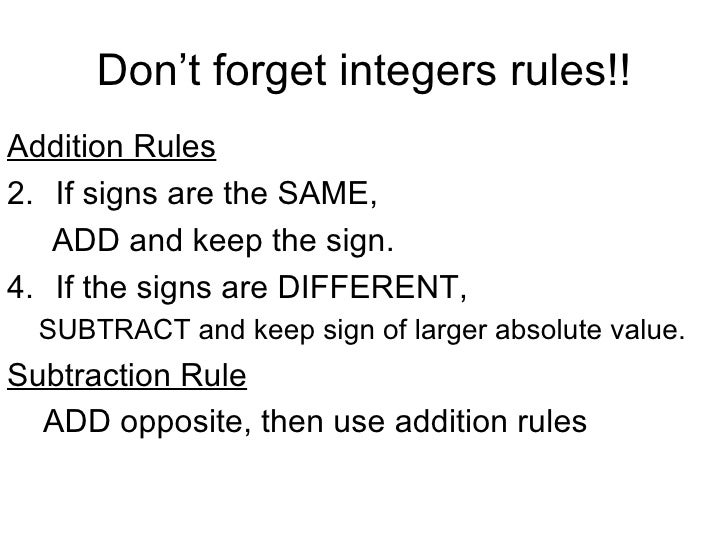 Suggestions Online – Rules for Adding and Subtracting Integers Worksheet