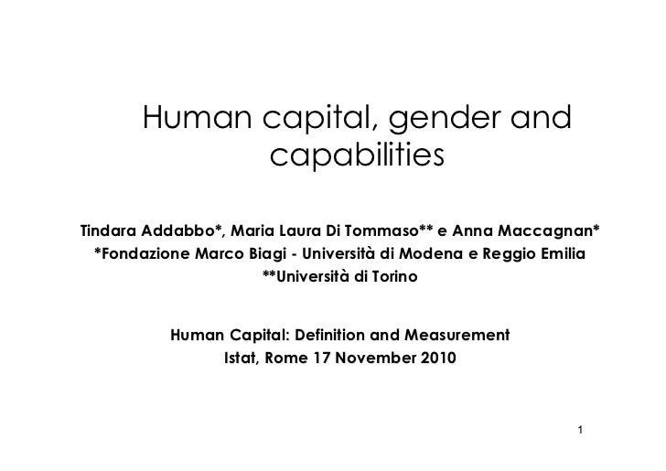 Human capital, gender and capabilities