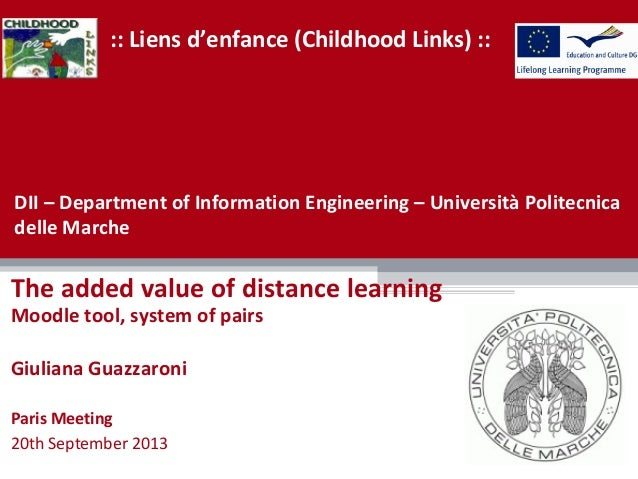 :: Liens d'enfance (Childhood Links) :: The added value of distance learning Moodle tool, system of pairs Giuliana Guazzar...