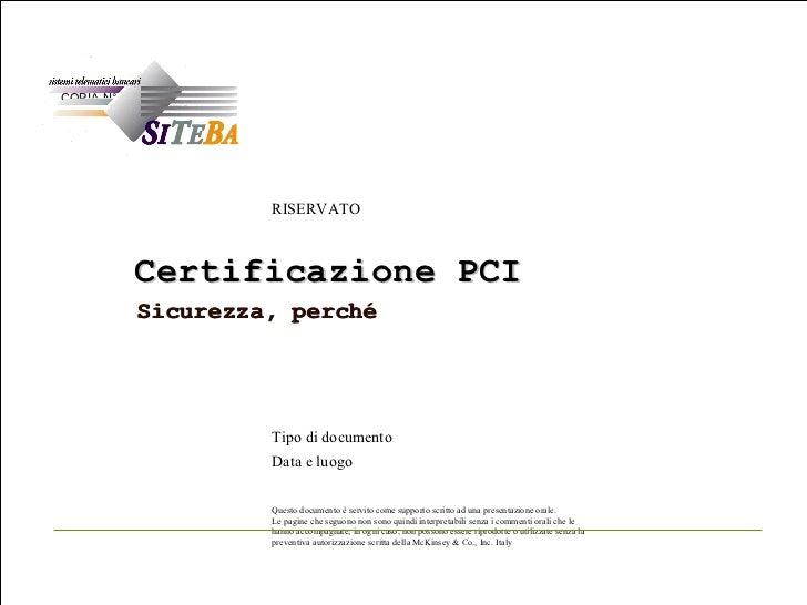 Certificazione PCI Sicurezza, perché