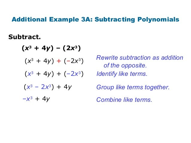 Addition and subtraction of polynomials Free Software Apps – Subtracting Polynomials Worksheet