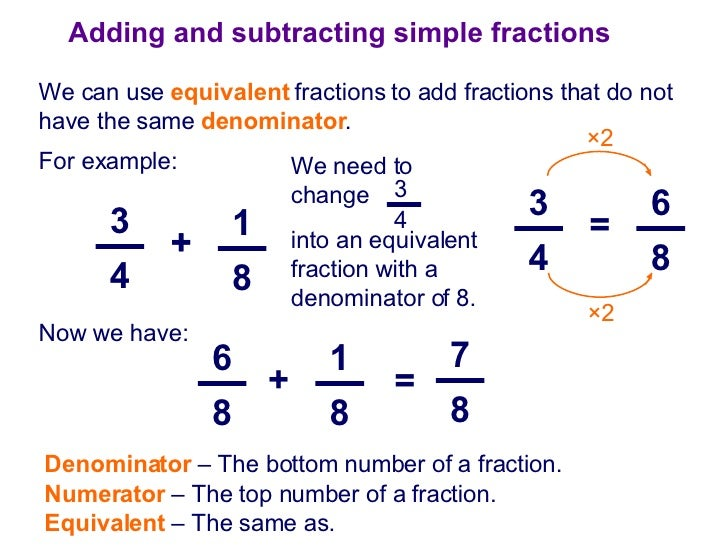 Adding And Subtracting Fractions With Unlike Denominators Image Gallery how to a...