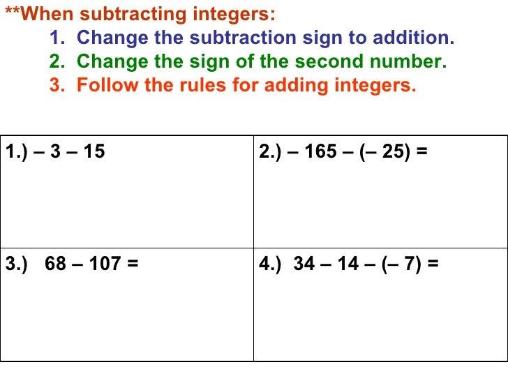 adding subtracting integers worksheets
