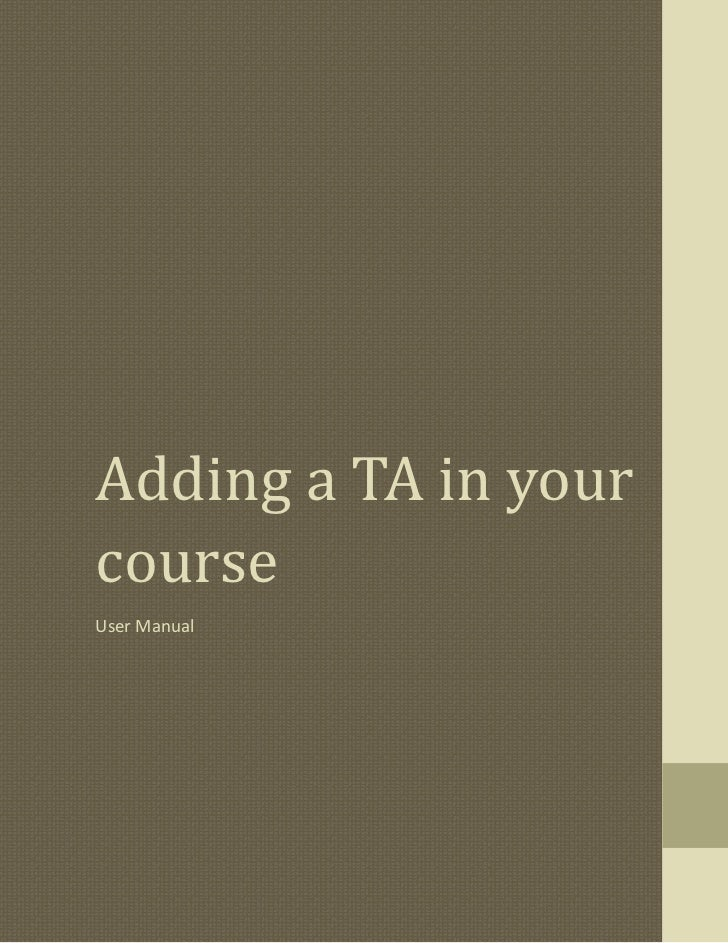 Adding a TA in yourcourseUser Manual