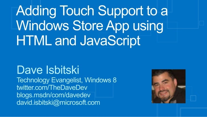 Adding touch support to a Windows Store App using html and java script