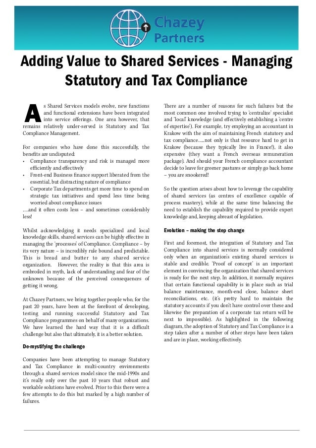 Adding Value to Shared Services - Managing Statutory and Tax Compliance