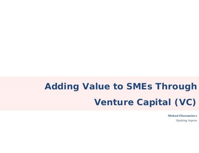 Adding Value to SMEs Through Venture Capital