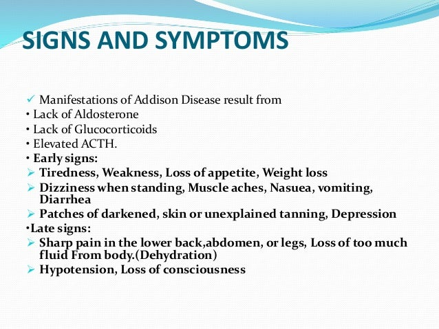 addison disease signs and symptoms, Human body