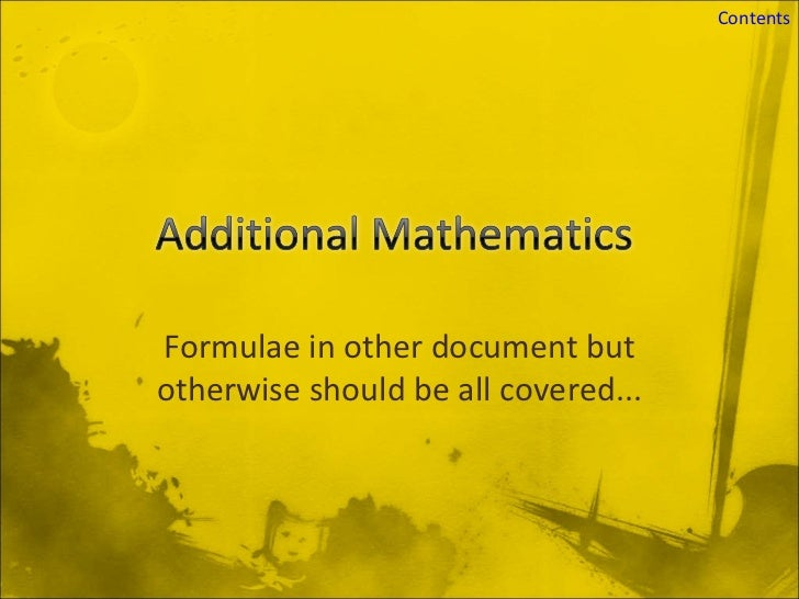Formulae in other document but otherwise should be all covered...