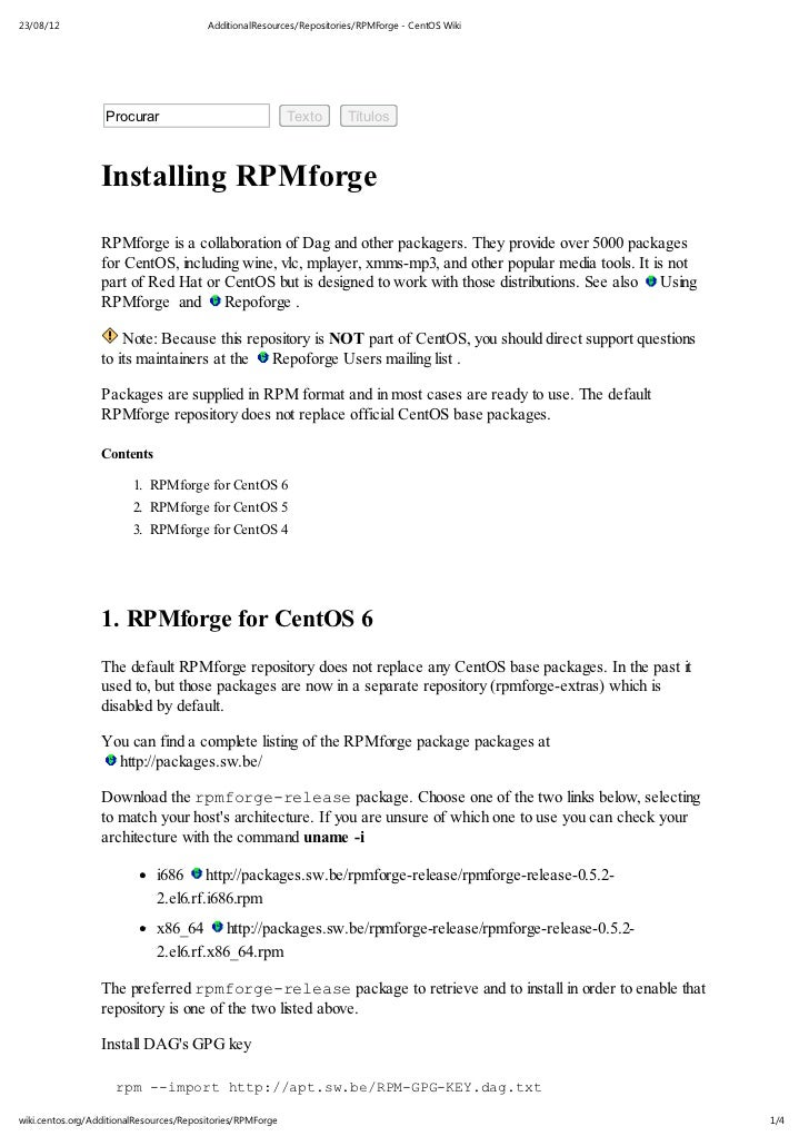 Additional resources repositories_rpm_forge - centos wiki