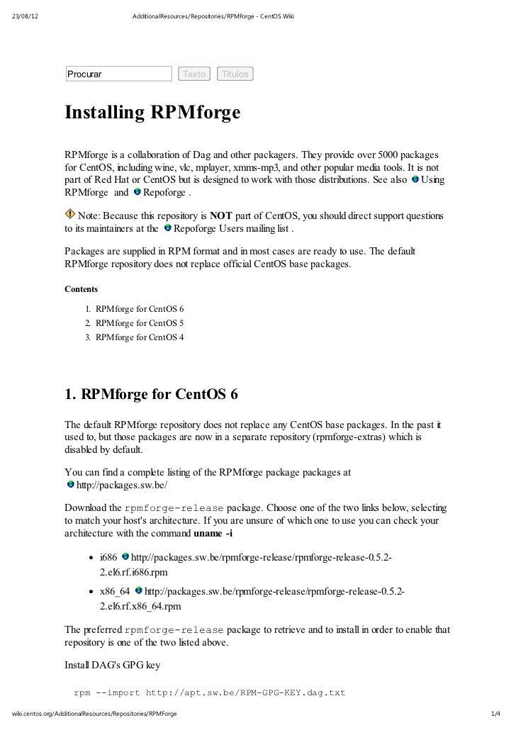 23/08/12                                 AdditionalResources/Repositories/RPMForge - CentOS Wiki                   Procura...