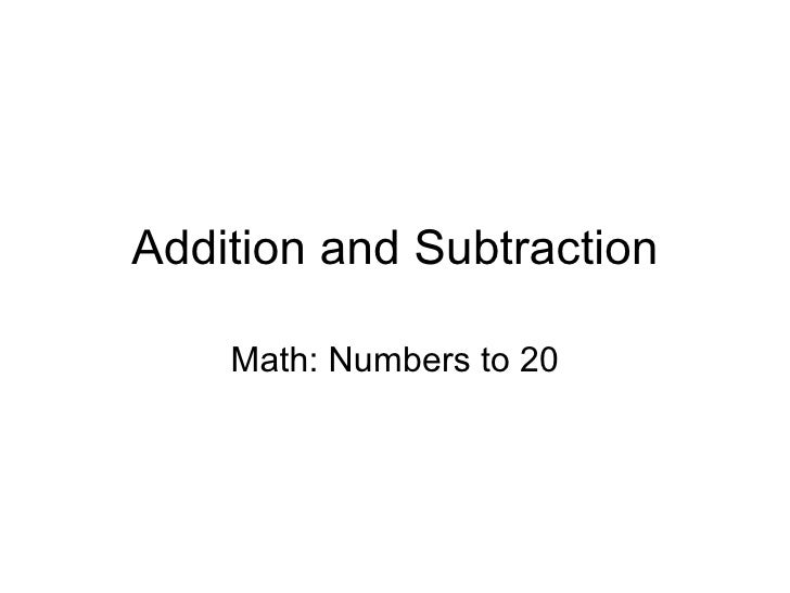 Addition and Subtraction Math: Numbers to 20