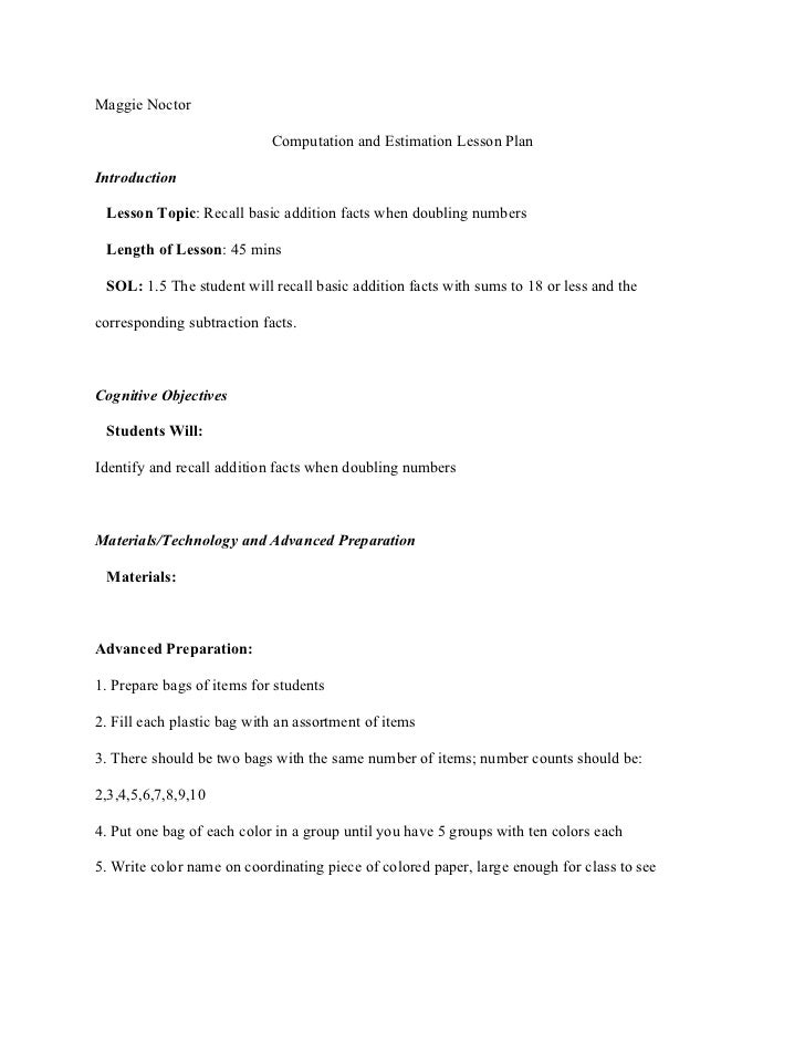 Maggie Noctor                            Computation and Estimation Lesson PlanIntroduction Lesson Topic: Recall basic add...