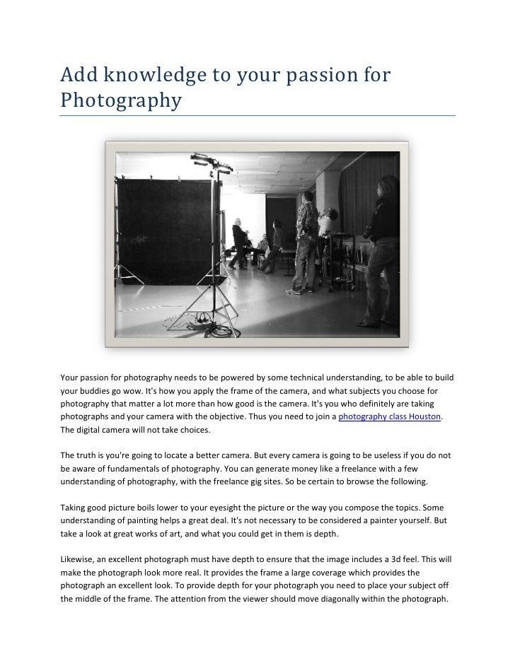 Add knowledge to your passion for photography