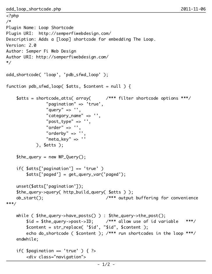 Add loop shortcode