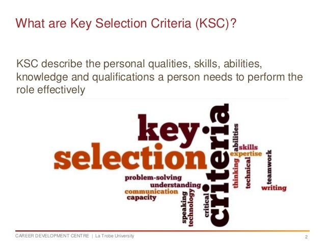 Addressing Key Selection Criteria