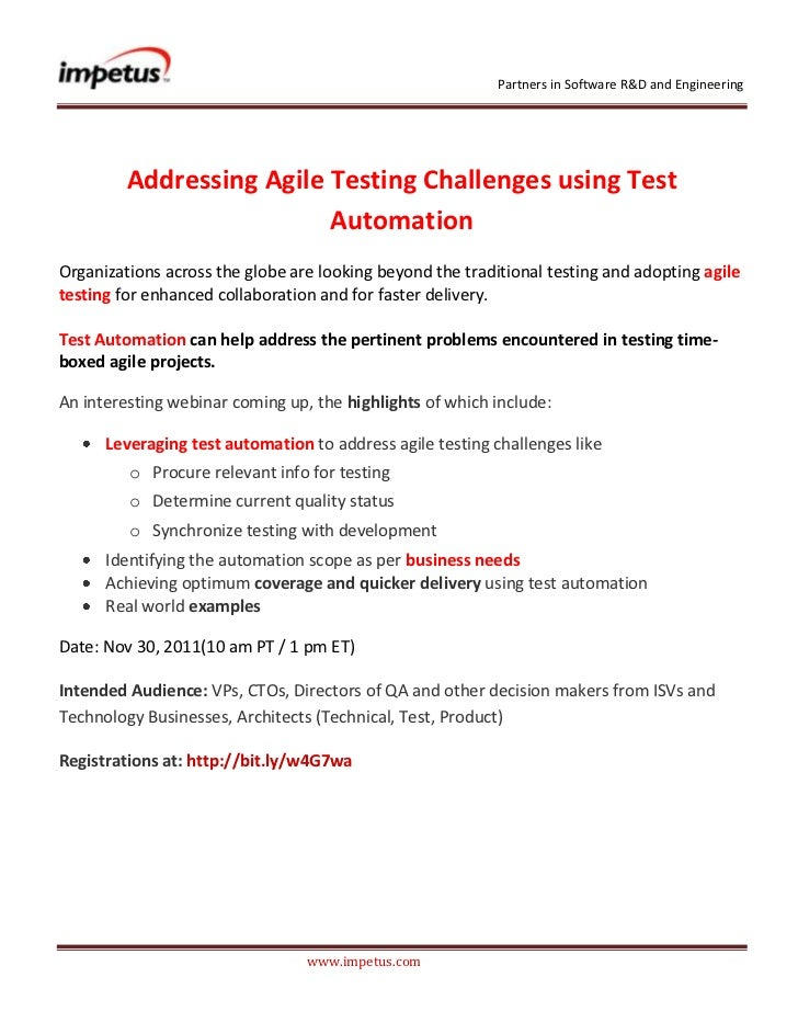 Partners in Software R&D and Engineering         Addressing Agile Testing Challenges using Test                          A...