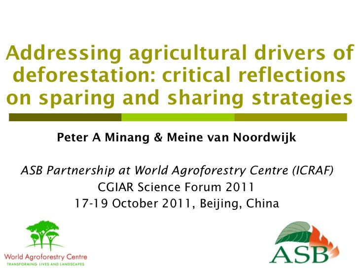 Addressing agricultural drivers of deforestation: critical reflections on sparing and sharing strategies Peter A Minang & ...