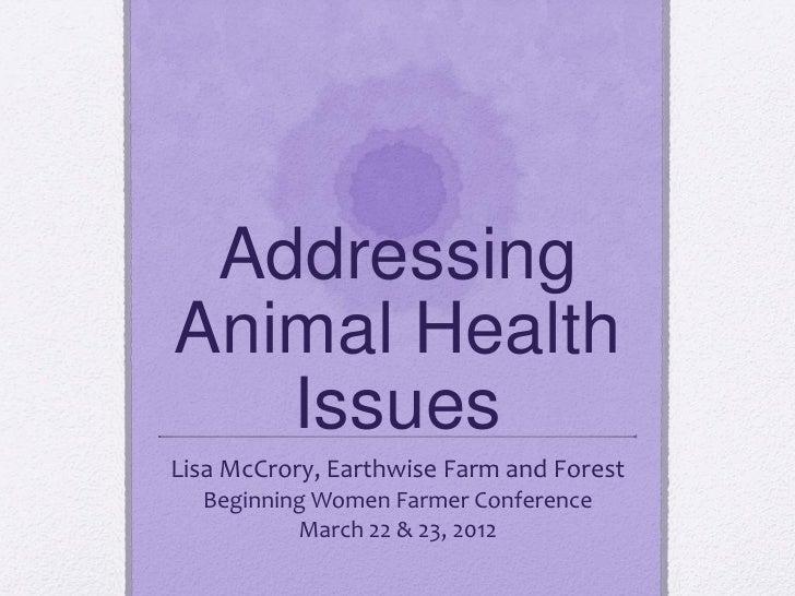 Addressing animal Health