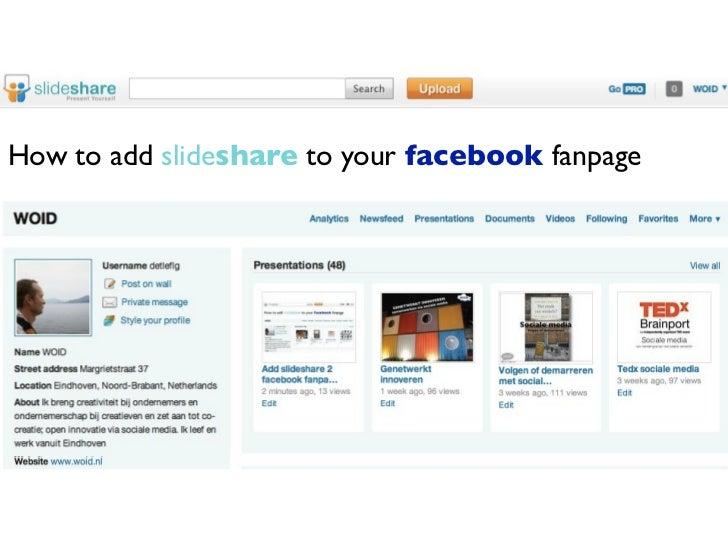 Add slideshare 2 facebook fanpage