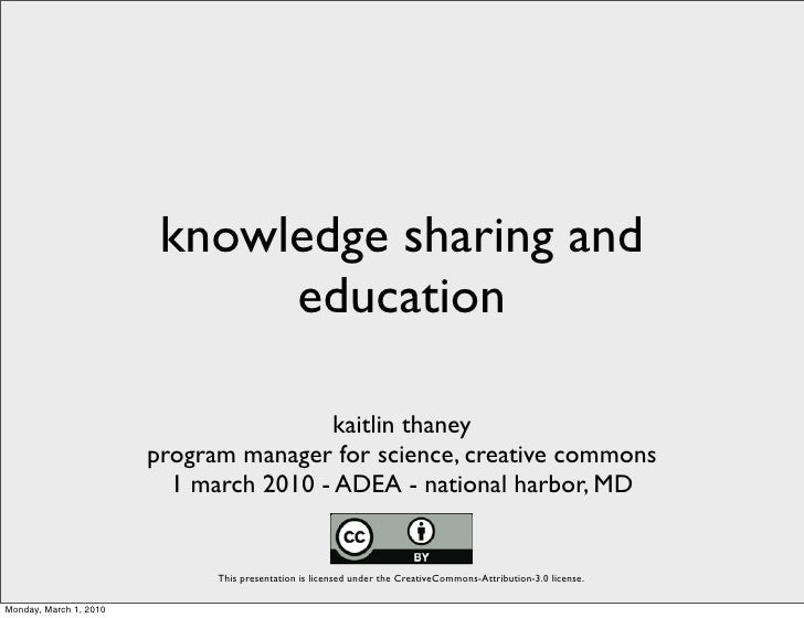 Knowledge Sharing and Education