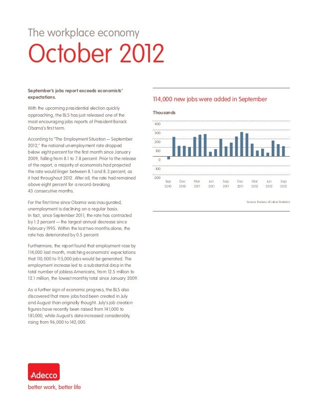 The workplace economyOctober 2012September's jobs report exceeds economists'expectations.                                 ...