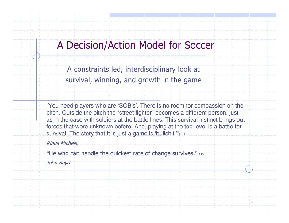 A Decision/Action Model for Soccer         A constraints led, interdisciplinary look at        survival, winning, and grow...