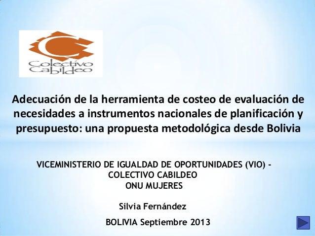 Adecuación de la herramienta de costeo de evaluación de necesidades a instrumentos nacionales de planificación y presupues...
