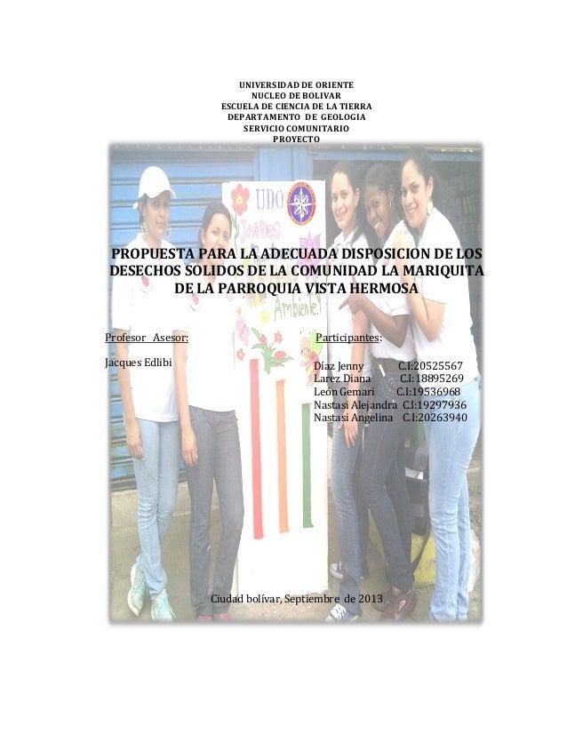 UNIVERSIDAD DE ORIENTE NUCLEO DE BOLIVAR ESCUELA DE CIENCIA DE LA TIERRA DEPARTAMENTO DE GEOLOGIA SERVICIO COMUNITARIO PRO...