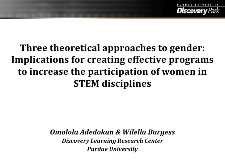 Three theoretical approaches to gender: Implications for creating effective programs to increase the participation of wome...