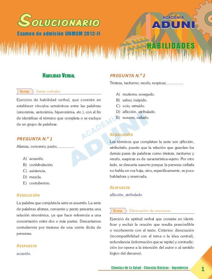 SolucionarioExamen de admisión UNMSM 2012-II                                                                              ...