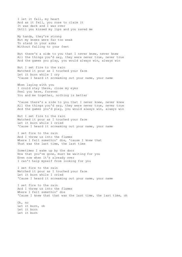 pdf adele set fire to the rain