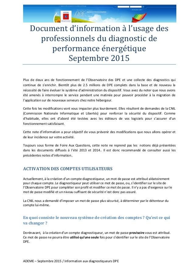 ADEME – Septembre 2015 / Information aux diagnostiqueurs DPE Document d'information a l'usage des professionnels du diagno...
