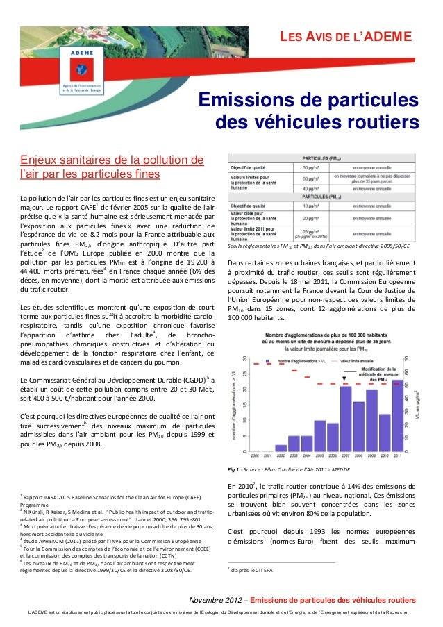 LES AVIS DE L'ADEME  Emissions de particules des véhicules routiers Enjeux sanitaires de la pollution de l'air par les par...