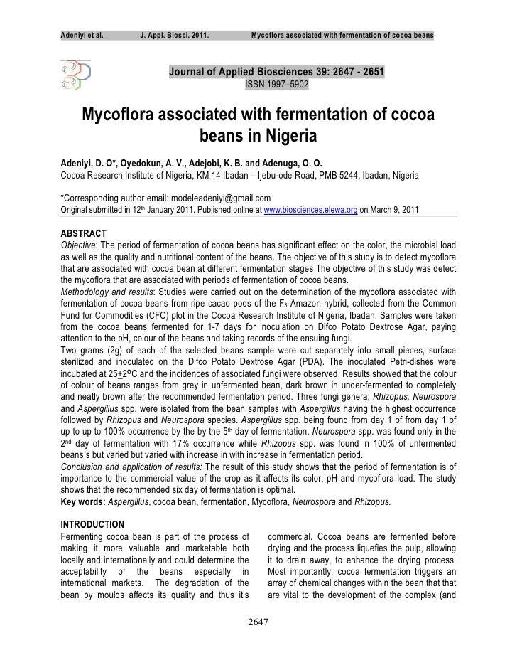 Adeniyi et al 2011. mycoflora associated with fermentation of cocoa bean in nigeria