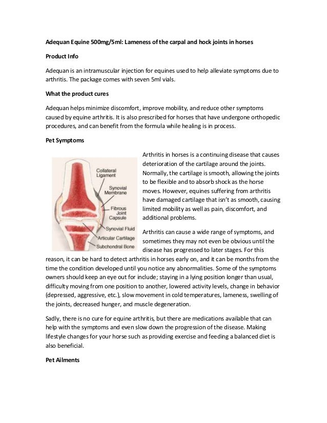 Adequan Equine 500mg/5ml: Lameness of the carpal and hock joints in horses Product Info Adequan is an intramuscular inject...